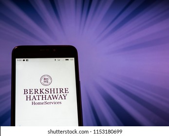 KIEV, UKRAINE - Aug. 9, 2018: Berkshire Hathaway logo seen displayed on smart phone. According to the New York Stock Exchange (NYSE), company is on the sixrth place at the market value $495,4 billion
