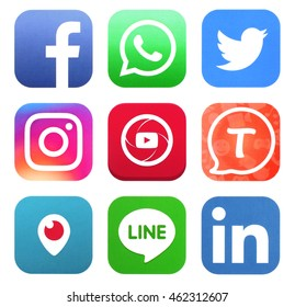 KIEV, UKRAINE - AUGUST 02, 2016: Collection of popular social media logos printed on paper: Facebook, Twitter, Instagram, Tango, Periscope, WhatsApp, Youtube, Line, and LinkedIn