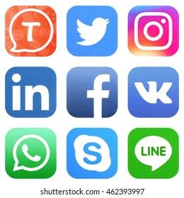 KIEV, UKRAINE - AUGUST 02, 2016: Collection of popular social media logos printed on paper: Facebook, Twitter, Instagram, Tango, Vkontakte, WhatsApp, Skype, Line, and LinkedIn
