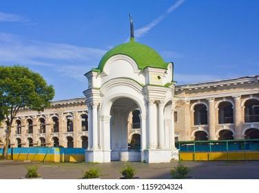 Kiev, Ukraine - August 1, 2018: Samson Fountain is the oldest one in Kiev at Kontraktova Square