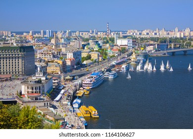 Kiev, Ukraine - August 1, 2018: View of the Dnieper embankment, River station, grand hotel Fairmont in Kiev