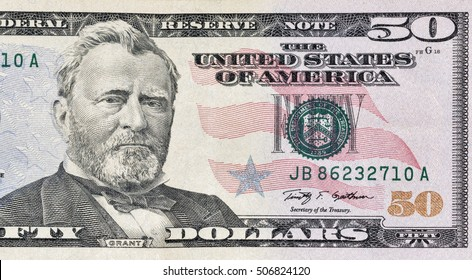 KIEV, UKRAINE - AUGUST 11, 2016: US President Grant portrait on fifty dollar bill macro. Ulysses S. Grant has appeared on the United States fifty dollar bill since 1913.