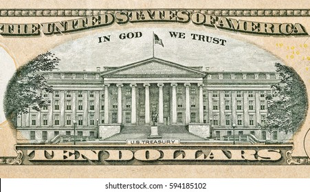 KIEV, UKRAINE - AUGUST 11, 2016: US Treasury building on reverse of ten dollar bill closeup macro. All 10 dollars bills issued today are Federal Reserve Notes.
