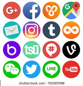 Kiev, Ukraine - August 11, 2017: Collection of round popular social media logos printed on paper: Facebook, Twitter, Google Plus, Instagram, Line, Youtube and others