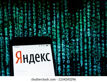 KIEV UKRAINE - AUGUST 11, 2018: Yandex logo seen displayed on smart phone. In connection with new sanctions against Russia in the case of Skripal, shares listed in the list of companies fell sharply.