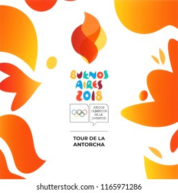 Kiev, Ukraine - August 16, 2018: Buenos Aires 2018 printed on white paper, Summer Youth Olympic Games. It is a sport festival for teenagers in Buenos Aires, Argentina 6-18 October 2018