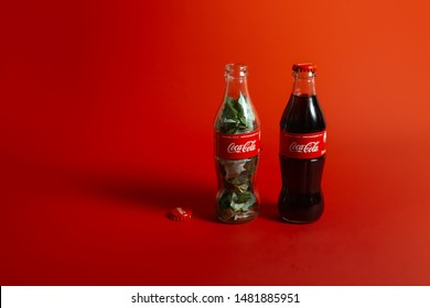 Kiev, Ukraine - August 19, 2019: A bottle of Coca Cola filled with green leaves.