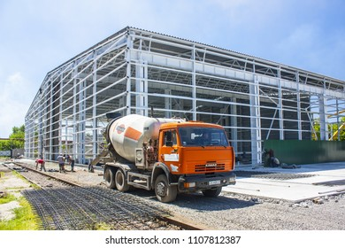 Kiev, UKRAINE - August 20, 2017: Concrete mixer truck KAMAZ at the at the construction site