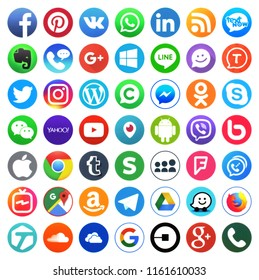 KIEV, UKRAINE -August 20, 2018: This is a photo collection of popular social media logos printed on paper: Facebook, Twitter, LinkedIn, Instagram, Tango, WhatsApp, Youtube, Line and other