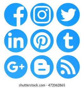 Kiev, Ukraine - August 22, 2016: Collection of popular circle blue social media logos printed on paper:Facebook, Twitter, Google Plus, Instagram, Pinterest, LinkedIn, Blogger, Tumblr and RSS