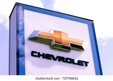 Kiev, Ukraine - August 22, 2017: Big sign of Chevrolet. Chevrolet is a world famous automotive manufacturer