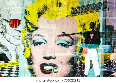Kiev, Ukraine - August 22, 2017: Marilyn Monroe in window at Domino Eight clothes store, Kiev