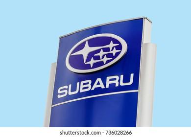 Kiev, Ukraine - August 22, 2017: Big sign of Subaru against blue sky. Subaru is a Japanese automotive manufacturer
