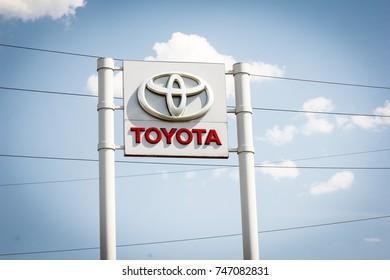 Kiev, Ukraine - August 22, 2017: Big sign of Toyota against blue sky. Toyota Motor Corporation is a Japanese automotive manufacturer