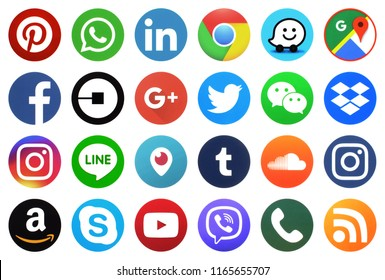KIEV, UKRAINE -August 22, 2018: This is a photo collection of popular social media logos printed on paper: Facebook, Twitter, LinkedIn, Instagram, Tango, WhatsApp, Youtube, Line and other
