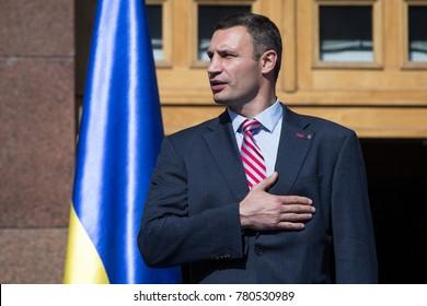 KIEV, UKRAINE - August 23, 2015: Kiev Mayor Vitali Klitschko during an appeal to the people of Kiev on the day of national flag of Ukraine.