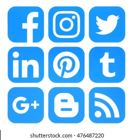 Kiev, Ukraine - August 23, 2016: Collection of popular blue social media icons printed on paper:Facebook, Twitter, Google Plus, Instagram, Pinterest, LinkedIn, Blogger, Tumblr and RSS