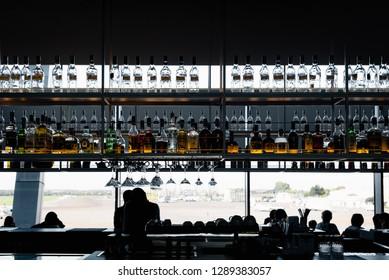 Kiev, Ukraine- August 23, 2018: Interior of modern bar in airport, waiting passengers on the background