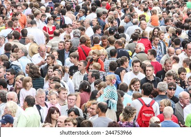 Kiev, Ukraine - August 24, 2009: Large crowd of people gather on the central square in Kiev during celebration Independence day of Ukraine.