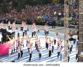 Kiev, Ukraine August 24, 2011: Youth on stage at the celebration of 20 years of independence of Ukraine