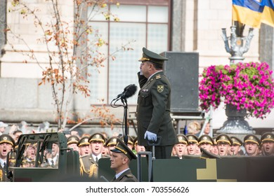 KIEV, UKRAINE - AUGUST 24, 2017: Military parade in Kyiv, dedicated to the Independence Day of Ukraine, 26th anniversary. Minister of Defense of Ukraine Stepan Poltorak takes command of parade