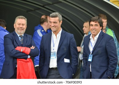 KIEV, UKRAINE - August 24, 2017: Coach Daniel Ramos (R) during the UEFA Europa League match between Dynamo Kyiv vs CS Maritimo (Portugal), Ukraine