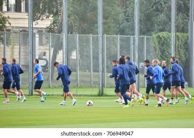KIEV, UKRAINE - August 24, 2017:  Training of football players before the UEFA Europa League match between Dynamo Kyiv vs CS Maritimo (Portugal), Ukraine