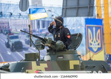 KIEV, UKRAINE - AUGUST 24, 2018: Military parade in Kiev, dedicated to the Independence Day of Ukraine, 27th anniversary. Tanks and other military vehicles on Khreshchatyk street