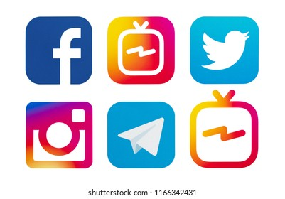 Kiev, Ukraine - August 24, 2018: Set of popular social media logos printed on paper: Facebook, IGTV, Twitter, Instagram, Telegram.