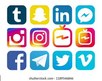 Kiev, Ukraine - August 24, 2018: This is a photo set of most  popular social media logos printed on paper: Facebook, IGTV, Vimeo, Snapchat, Instagram, Telegram, LinkedIn, Twitter, Messenger, Tumblr.