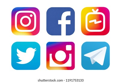 Kiev, Ukraine - August 24, 2018: This is a photo set of most  popular social media logos printed on paper: Facebook, IGTV, Twitter, Instagram, Telegram.