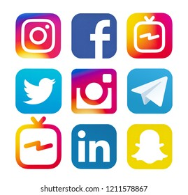 Kiev, Ukraine - August 24, 2018: This is a photo set of most  popular social media logos printed on paper: Facebook, IGTV, Twitter, Instagram, Telegram, Snapchat, Linkedin.