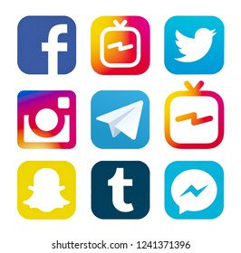 Kiev, Ukraine - August 24, 2018: Set of most  popular social media logos printed on paper: Facebook, Instagram IGTV, Messenger, Snapchat, Instagram, Telegram, LinkedIn, Tumblr.