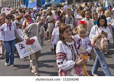 KIEV, UKRAINE - AUGUST 24: Ukraine Independence Day. Independence Square - Kiev central square, Ukraine on August 24, 2012. Ukrainian vyshivanok (embroidered shirts) parade. Kyiv region.