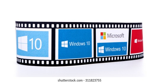 KIEV, UKRAINE - AUGUST 25, 2015: Windows 10 the operating system developed by Microsoft. Films frame Windows 10 logos isolated on white background.