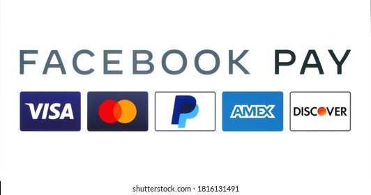 Kiev, Ukraine - August 25, 2020: Facebook Pay works with multinational financial services such as: Visa, Mastercard, PayPal, American Express and Discover, printed on paper.