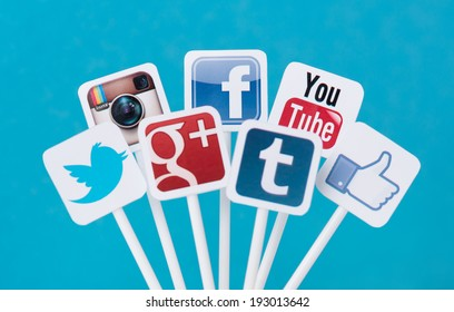 KIEV, UKRAINE - AUGUST 26, 2013: Collection of well-known social media brands printed on paper and placed on plastic signs. Include Facebook, YouTube, Twitter, Google Plus, Instagram and Tumblr logo.