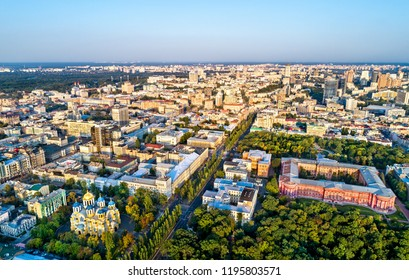 Kiev, Ukraine - August 26, 2018: Aerial view of Kiev downtown with St Volodymyr Cathedral and the Taras Shevchenko National University