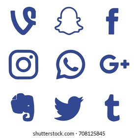 Kiev, Ukraine - August 28, 2017: Collection of popular social media logos printed on paper: Facebook, Twitter, Google Plus, Instagram and others.