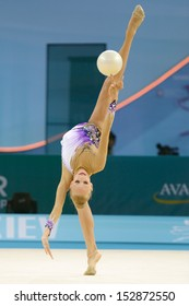 KIEV, UKRAINE - AUGUST 28: Yana Kudryavtseva of Russia in action during the 32nd Rhythmic Gymnastics World Championships in Kiev, Ukraine on August 28, 2013