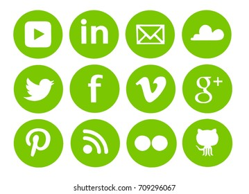 Kiev, Ukraine - August 29, 2017: Collection of popular social media logos printed on paper: Facebook, Twitter, Google Plus, Pinterest, LinkedIn, YouTube and others.