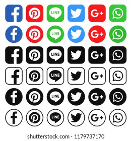 Kiev, Ukraine - August 29, 2018: Collection of different popular social media icons printed on white paper: facebook, google plus, whatsapp, twitter, pinterest, line