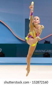 KIEV, UKRAINE - AUGUST 29: Yana Kudryavtseva of Russia in action during the 32nd Rhythmic Gymnastics World Championships in Kiev, Ukraine on August 29, 2013