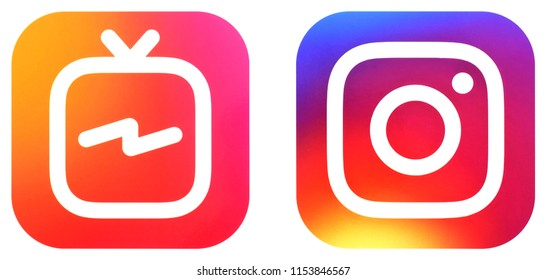 KIEV, UKRAINE -August 3, 2018: This is a photo collection of popular social media logos printed on paper: Instagram, and other
