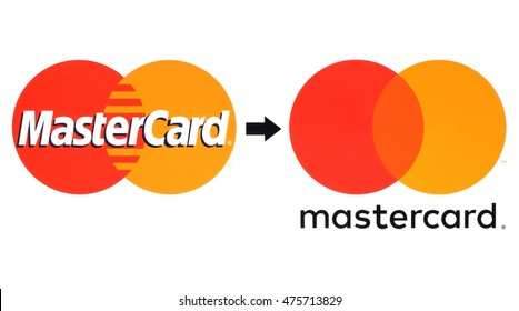 Kiev, Ukraine - August 30, 2016: New and old Mastercard logos printed on white paper. MasterCard Worldwide is an American multinational financial services corporation.