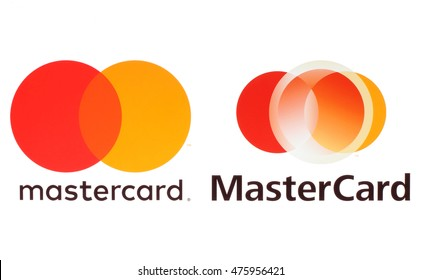 Kiev, Ukraine - August 30, 2016: New Mastercard logos printed on white paper. MasterCard Worldwide is an American multinational financial services corporation.