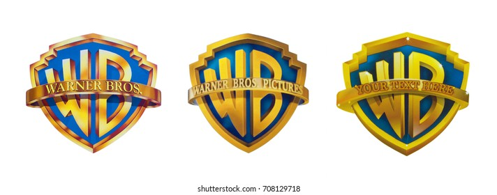 Kiev, Ukraine - August 30, 2017: Set of the famous film studios logos - Warner Brothers, printed on paper and placed on a white background.