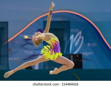 KIEV, UKRAINE - AUGUST 30: Yana Kudryavtseva of Russia in action during the 32nd Rhythmic Gymnastics World Championships in Kiev, Ukraine on August 30, 2013