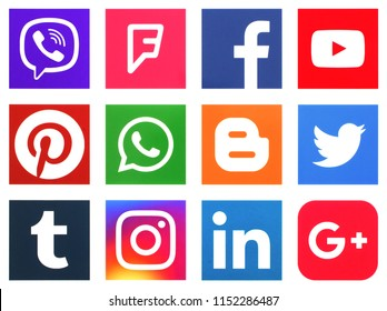 KIEV, UKRAINE -August 6, 2018: This is a photo collection of popular social media logos printed on paper: Facebook, Twitter, LinkedIn, Pinterest, Instagram, Youtube, Line and other