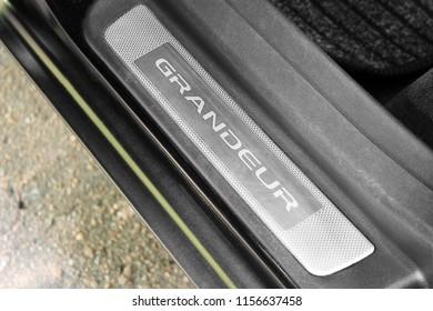 "Kiev, Ukraine - August 6, 2018: The threshold of the car Hyundai with the logo ""Grandeur"""